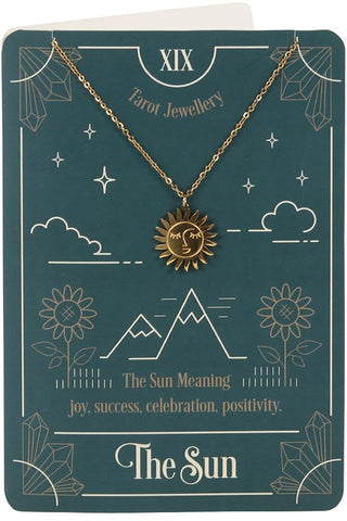 The Sun Tarot Necklace on Greeting Card | Angel Clothing