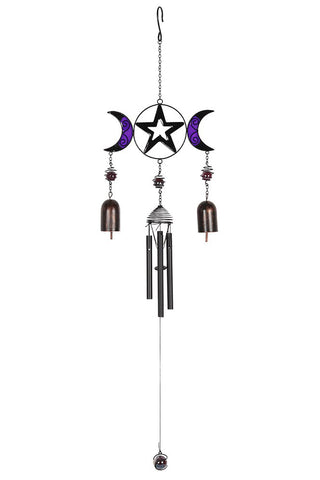 Triple Moon Windchime with Bells | Angel Clothing