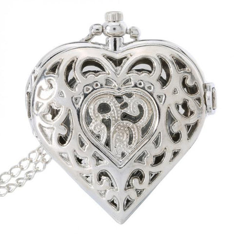 Steampunk Pocket Watch, Silver Tone Heart Shaped Necklace Watch | Angel Clothing