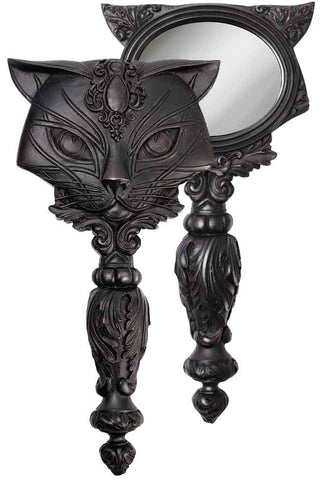 Alchemy Black Sacred Cat Hand Mirror | Angel Clothing