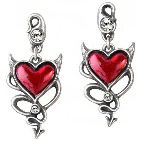 Alchemy Devil Heart Stud Earrings Pair UL17 ULFE22 - Angel Clothing