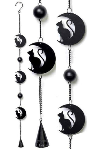 Alchemy Black Cat and Moon Wind Chime | Angel Clothing