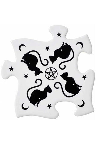 Alchemy Gothic Black Cats Jigsaw Coasters | Angel Clothing