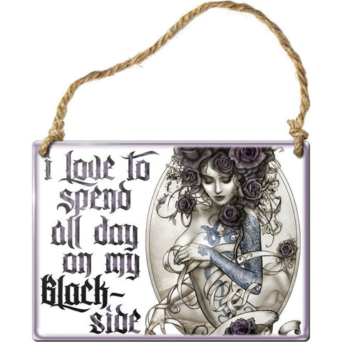 Alchemy Gothic Black Side Steel Hanging Plaque | Angel Clothing