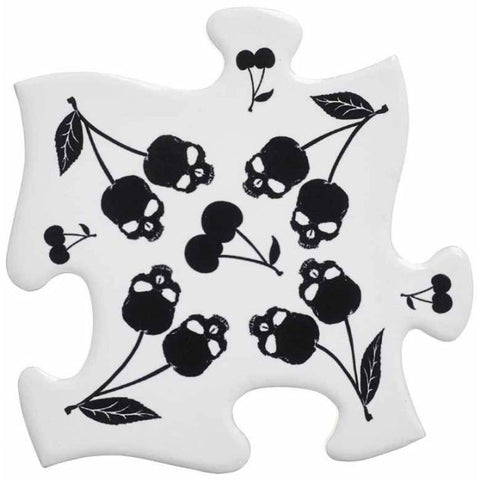 Alchemy Gothic Black Skull Cherries Jigsaw Coasters - Angel Clothing