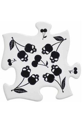 Alchemy Black Skull Cherries Jigsaw Coasters | Angel Clothing