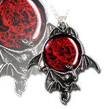 Alchemy Gothic Blood Moon Bat Pendant P447 | Angel Clothing