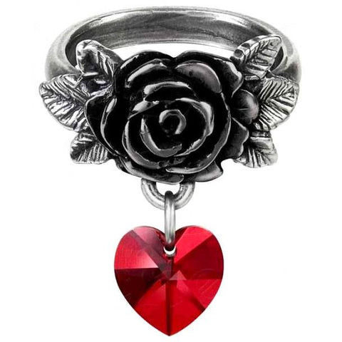 Alchemy Gothic Cherish Ring, Rose Heart Ring R214 - Angel Clothing