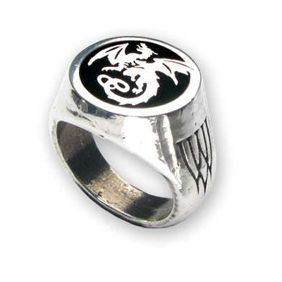 Alchemy Gothic Dragon Wyverex Signet Ring R154 | Angel Clothing