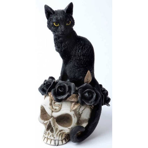 Alchemy Gothic Grimalkins Ghost Cat and Skull 18.5cm V71 | Angel Clothing