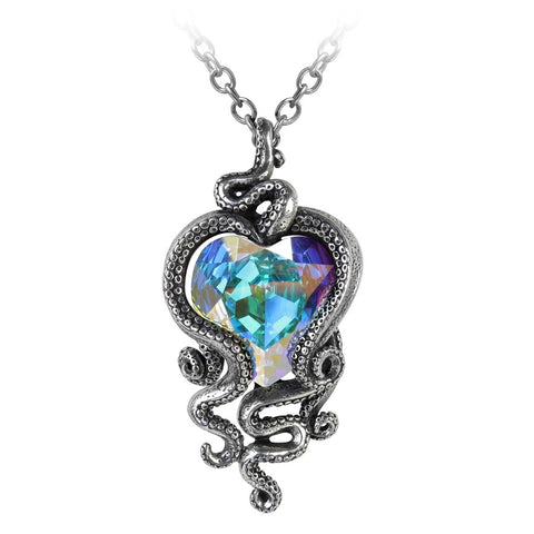 Alchemy Gothic Heart of Cthulhu Pendant, Steampunk Octopus Necklace P723 | Angel Clothing