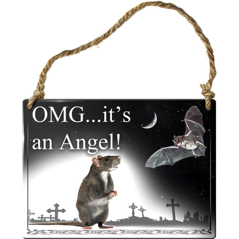 Alchemy Gothic OMG Its an Angel Rat and Bat Steel Hanging Plaque | Angel Clothing