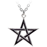 Alchemy Gothic Pewter Pendant Black Star Pentagram Pendant P775 | Angel Clothing