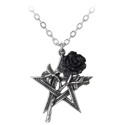 Alchemy Gothic Rose Pentagram Pendant Ruah Vered Necklace P715 | Angel Clothing