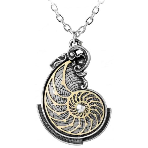 Alchemy Gothic Steampunk Fibonaccis Golden Spiral Pendant P799 - Angel Clothing