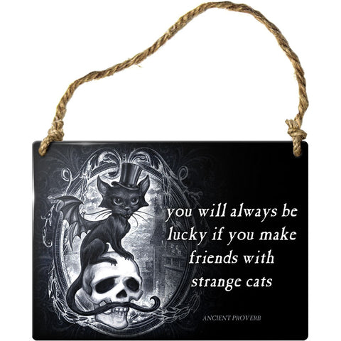 Alchemy Gothic Strange Cats Meowstophelex Steel Hanging Plaque | Angel Clothing