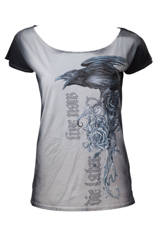 Alchemy Gothic T-shirt AEA The Uninvited Guest Ladies Gothic Raven Tshirt | Angel Clothing