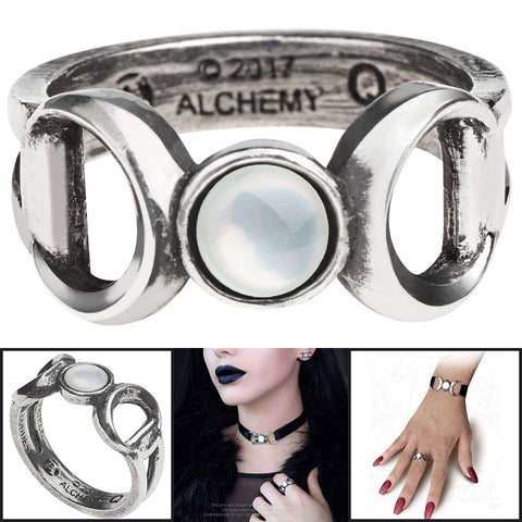 Alchemy Gothic Triple Goddess Ring R219 | Angel Clothing
