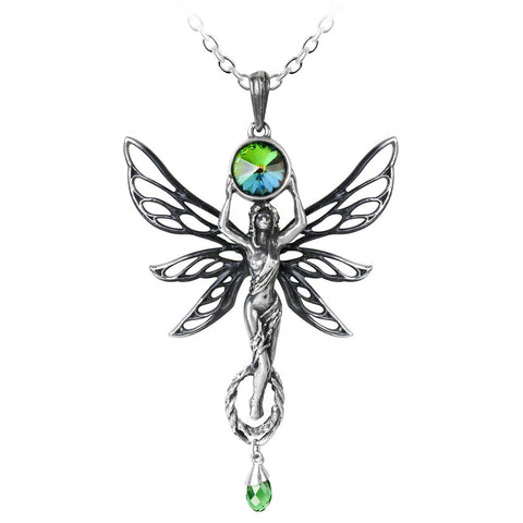 Alchemy Gothic The Green Goddess Absinthe Fairy Pewter Pendant - Angel Clothing