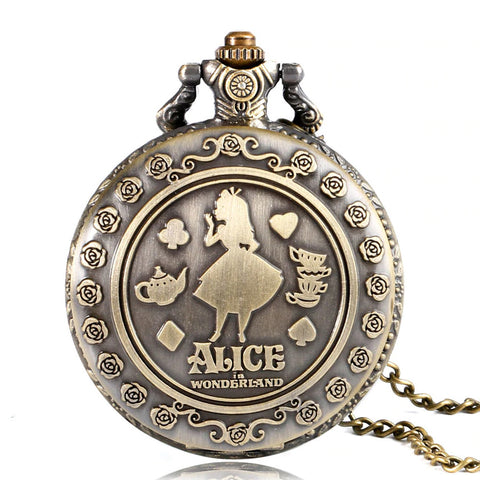 Alice In Wonderland Steampunk Pocket Watch on Necklace Chain | Angel Clothing