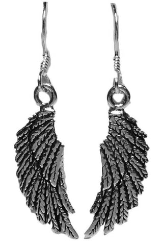 Seventh Sense Angel Wing Drop Earrings Silver | Angel Clothing