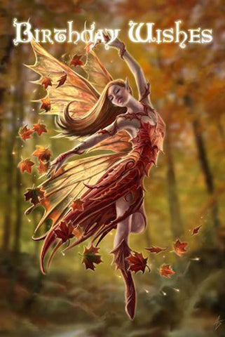 Anne Stokes Autumn Fairy Birthday Card | Angel Clothing