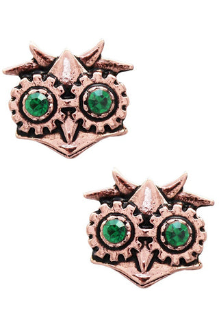 Steampunk Engineerium Aviamore Owl Earrings | Angel Clothing