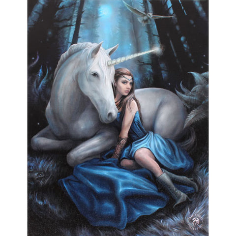 Anne Stokes Blue Moon Fantasy Unicorn Picture 19cm x 25cm - Angel Clothing