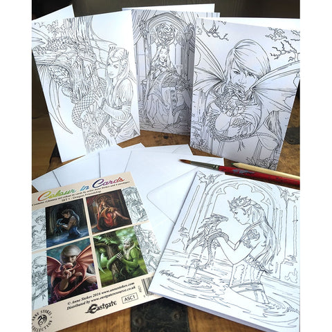 Anne Stokes Colour In Cards Dragon Friendship Set, Fantasy Art Colouring Greetings Cards | Angel Clothing