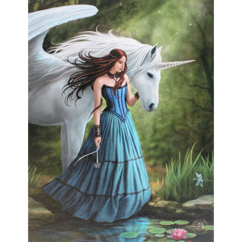 Anne Stokes Enchanted Pool Unicorn Picture 19cm x 25cm - Angel Clothing