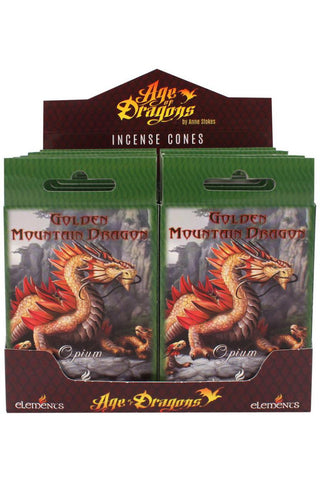 Anne Stokes Golden Mountain Dragon Incense Cones | Angel Clothing