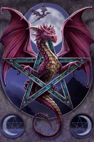 Anne Stokes Gothic Dragon Greetings Card, Lunar Magic | Angel Clothing