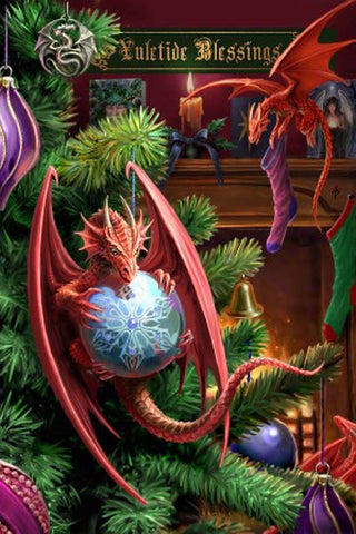 Anne Stokes Little Helpers Yuletide Card, Gothic Baby Dragons Christmas Card | Angel Clothing