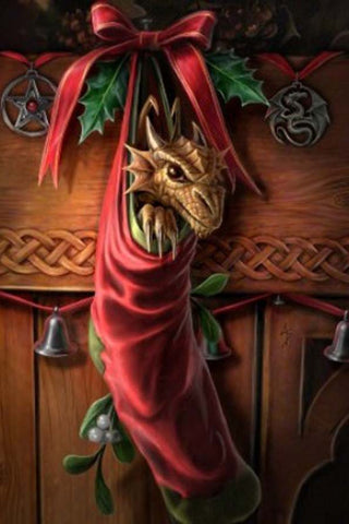 Anne Stokes Magical Arrival Yuletide Card, Gothic Baby Dragon Christmas Card | Angel Clothing