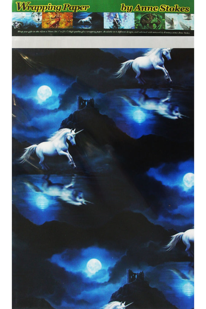Anne Stokes Moonlight Unicorn Wrapping Paper, Gothic Gift Wrap 42cm x 59cm | Angel Clothing