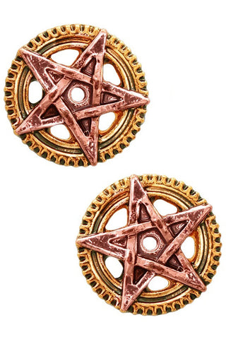 Penta Meridia Earrings. Steampunk Engineerium by Anne Stokes EN8 | Angel Clothing