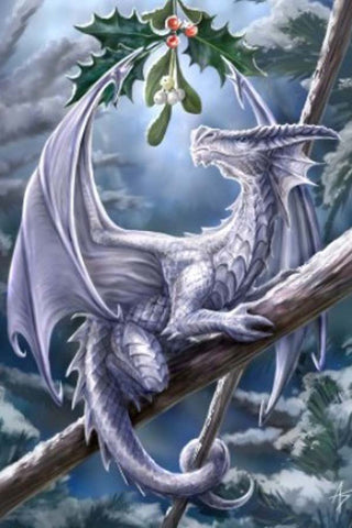 Anne Stokes  Snow Dragon Yuletide Card, Gothic Dragon Christmas Card | Angel Clothing