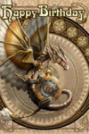 Anne Stokes Clockwork Dragon Birthday Card | Angel Clothing