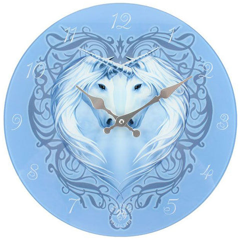 Anne Stokes Unicorn Heart Glass Wall Clock - Angel Clothing