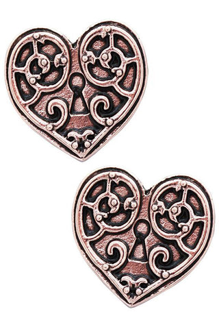 Steampunk Engineerium Valkyrie Heart Earrings | Angel Clothing