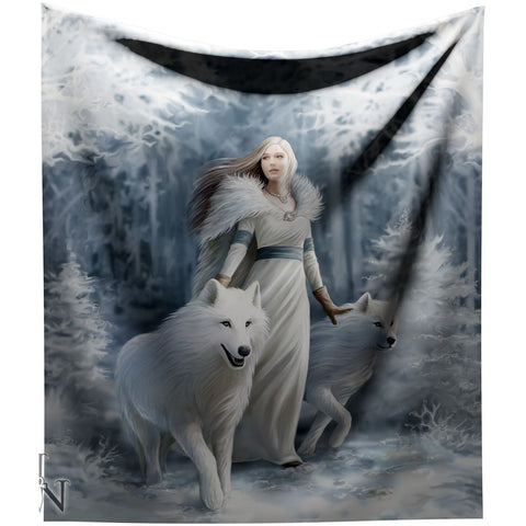 Anne Stokes Winter Guardians Throw Gothic Blanket | Angel Clothing