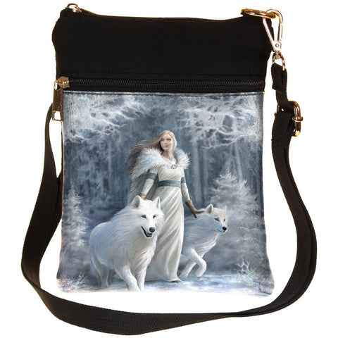 Anne Stokes Winter Guardians Wolves Shoulder Bag - Angel Clothing