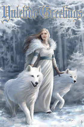 Anne Stokes Winter Guardians Yuletide Card, Gothic Wolves Christmas Card | Angel Clothing