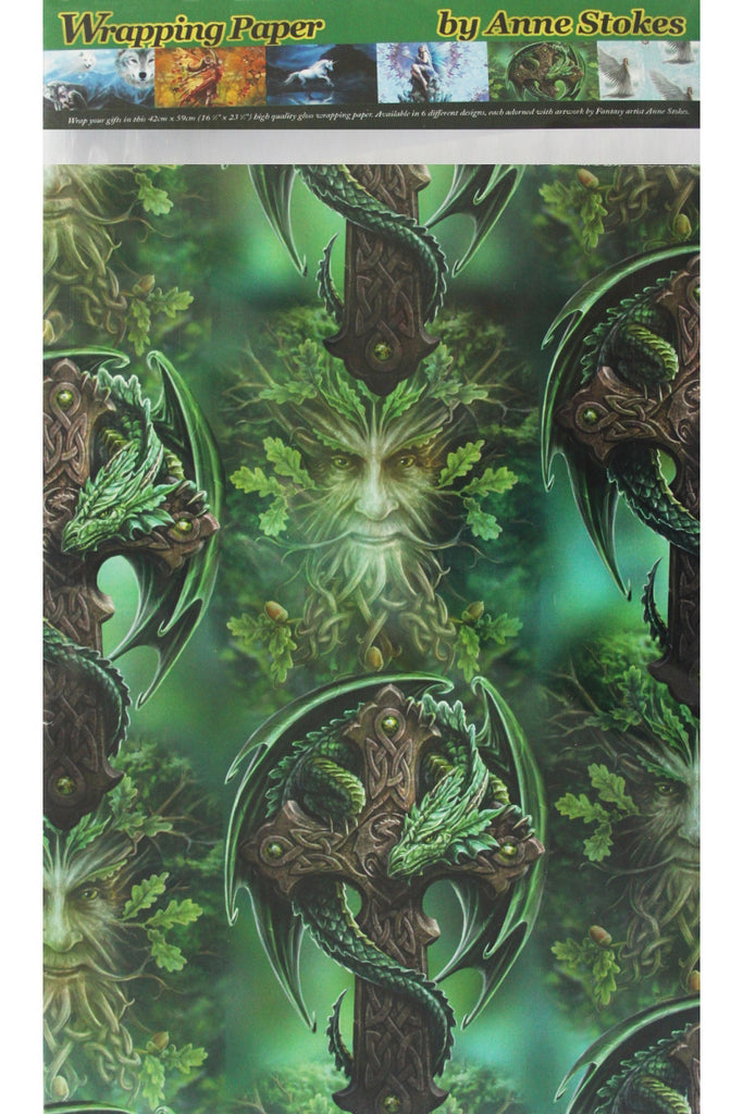 Anne Stokes Woodland Guardian Dragon Wrapping Paper, Green Man Gothic Gift Wrap 42cm x 59cm