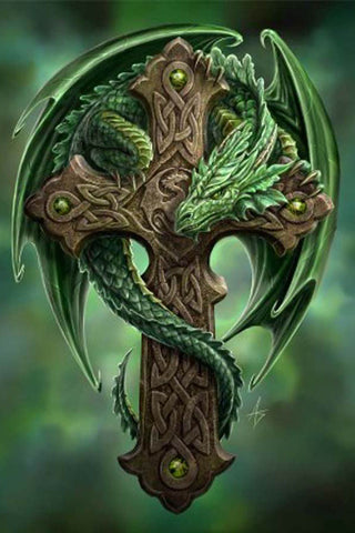 Anne Stokes Woodland Guardian Greetings Card, Dragon Celtic Cross | Angel Clothing