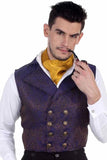Aristocrat Steampunk Waistcoat Blue Gold | Angel Clothing