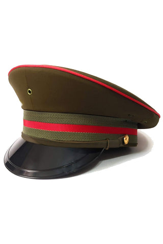 Army Green Military Peaked Cap with Red Trim | Angel Clothing