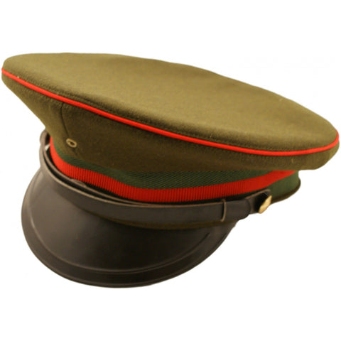 Army Green Military Peaked Cap with Red Trim - Angel Clothing