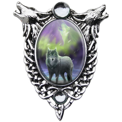 Aura Wolf Cameo Pendant Necklace by Anne Stokes EC8 | Angel Clothing
