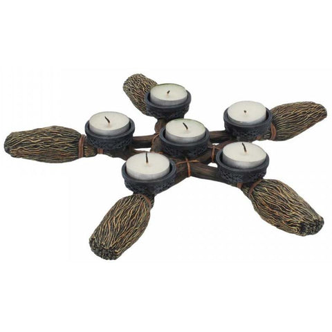 Broomstick Pentagram Tea Light Holder 34cm | Angel Clothing